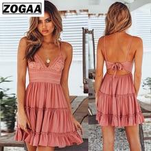 ZOGAA Womens Summer Boho Mini Dress Bohemian Halter Ruffle A-line Chic Sundress Sexy Backless V-neck Beach Holiday Dresses S-XL