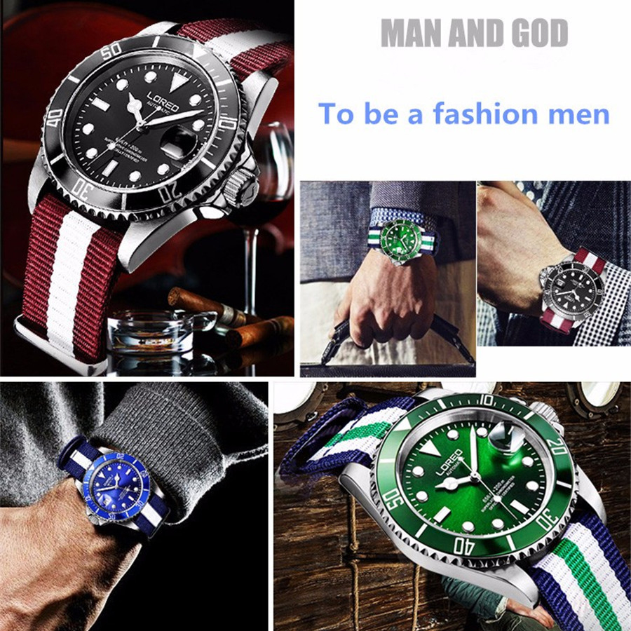 Image 5 - New LOREO Water Ghost Series Classic Blue Dial Luxury Men Automatic Watches Stainless Steel 200m Waterproof Mechanical Watch-in Mechanical Watches from Watches