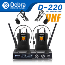 лучшая цена Good sound!!!Debra Audio D-220 2Channel dual Lavalier & Headset Mic UHF Wireless Microphone System for karaoke