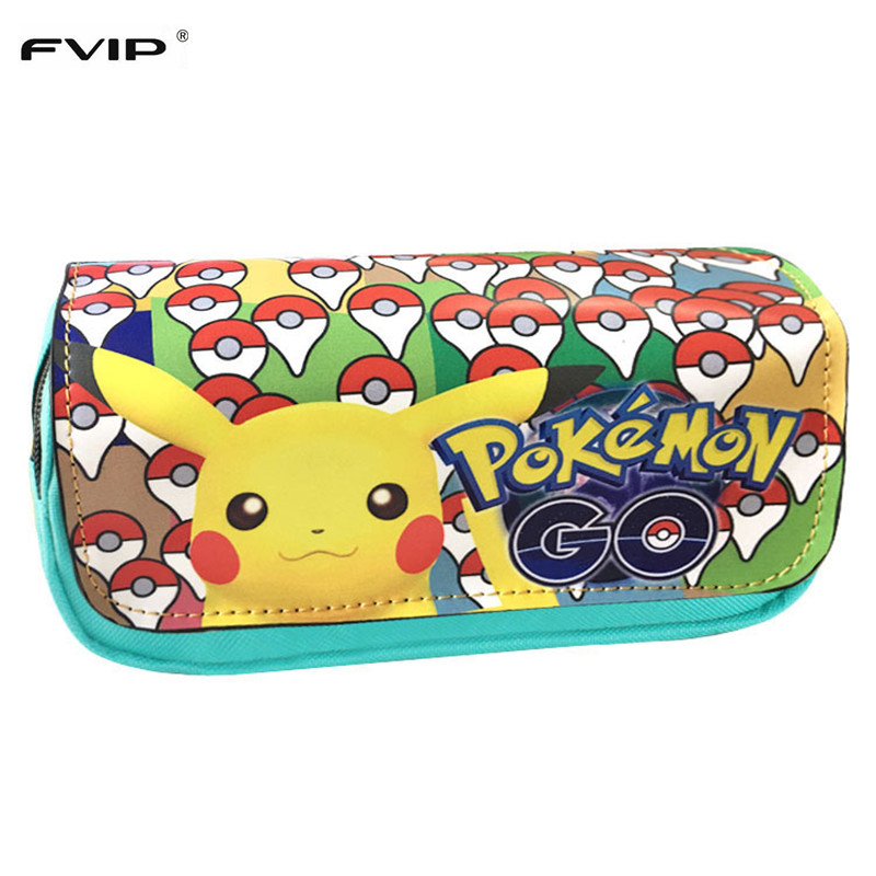 FVIP Hot Sell Game Pokemon Go Pencil Case Wallet Pokemon Eevee Pikachu Cosmetic Makeup Coin Pouch Double Zipper Pen Bag handmade vintage leather zipper pen pencil pouch wallet glasses toolkit toiletry cosmetic makeup bag case 9115fs