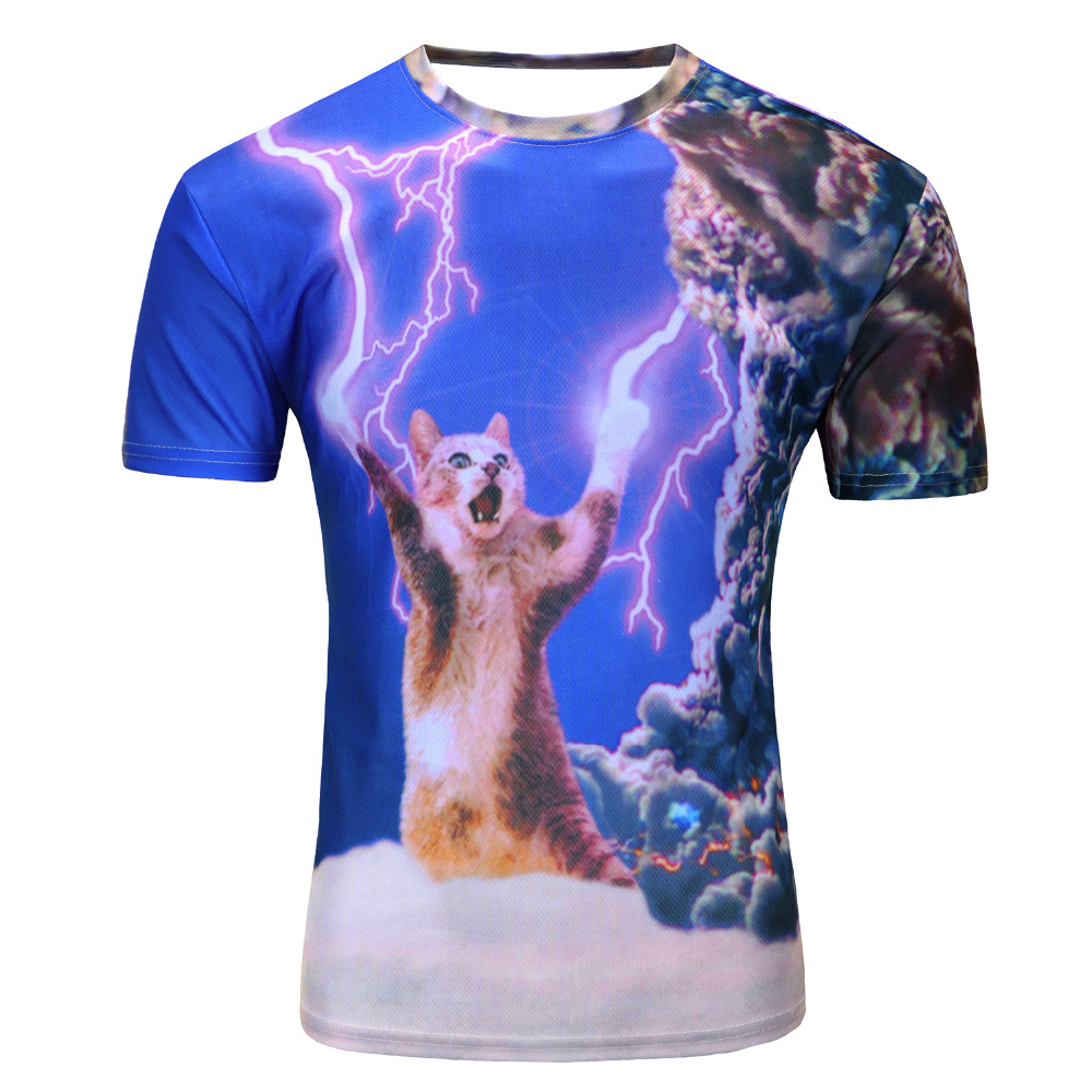 2017 new galaxy space 3D t shirt lovely kitten cat eat pizza funny tops tee short sleeve summer shirts for men dropship
