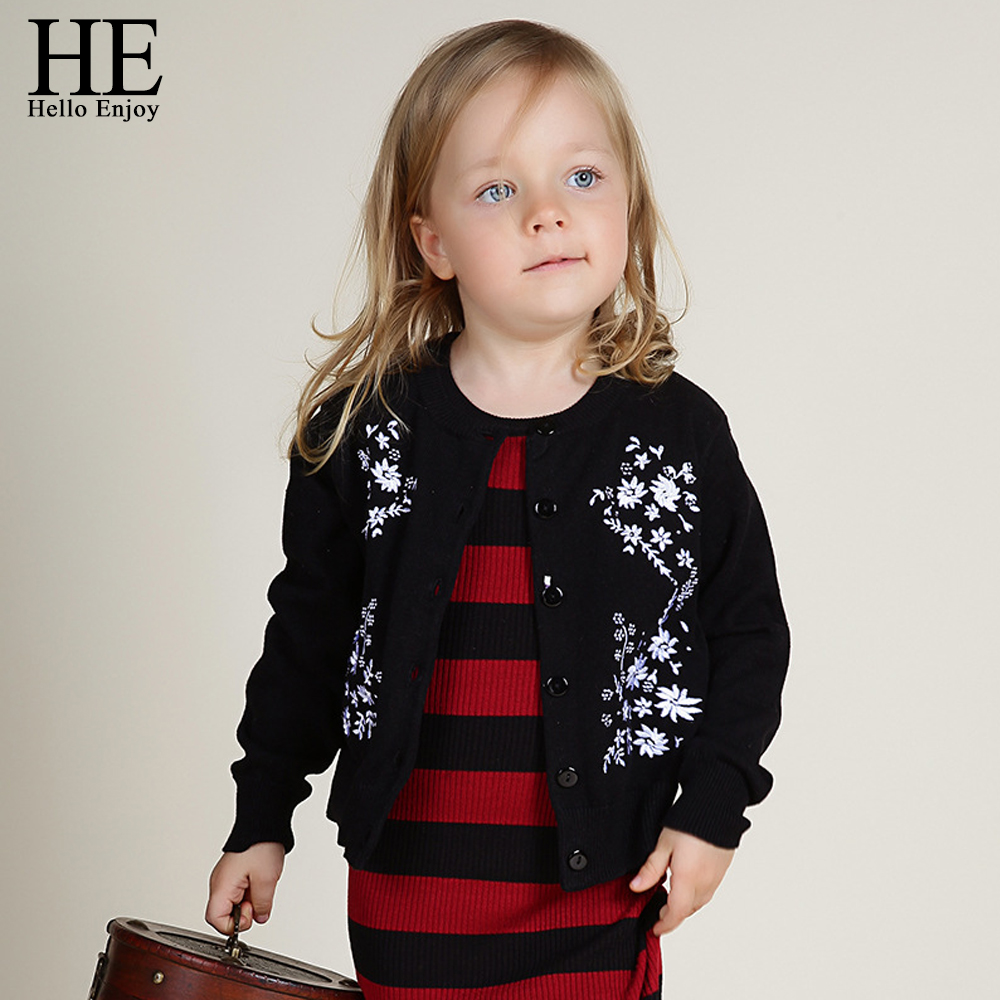 girls cardigans for baby girls sweaters 2017 winter tops kids sweater patterns Long sleeve embroidery flower