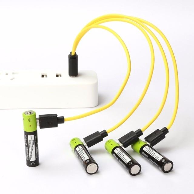 ZNTER 1/2/4 PCS Mirco USB Có Thể Sạc Lại Pin AAA Pin 400 mAh AAA 1.5 V điều khiển Từ Xa pin Lithium Polymer Pin