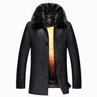 Модные черные Для мужчин Кожаная куртка Для мужчин толстые меха соболя Куртка с воротником зимнее пальто Для мужчин с внутренним кроличий м