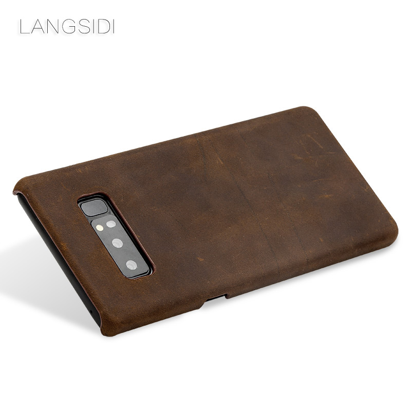 wangcangli Custom Real Leather Mobile Phone Cover Case For Samsung Galaxy note8 phone case Handmade a variety of styles in Half wrapped Cases from Cellphones Telecommunications