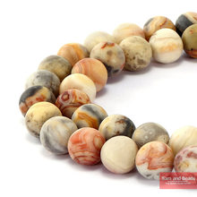 "Natural Stone Dull Polish Matte Crazy Lace Agata Beads 15"" Strand 4-12mm For Bracelet Necklace Making MCLAB01(China)"