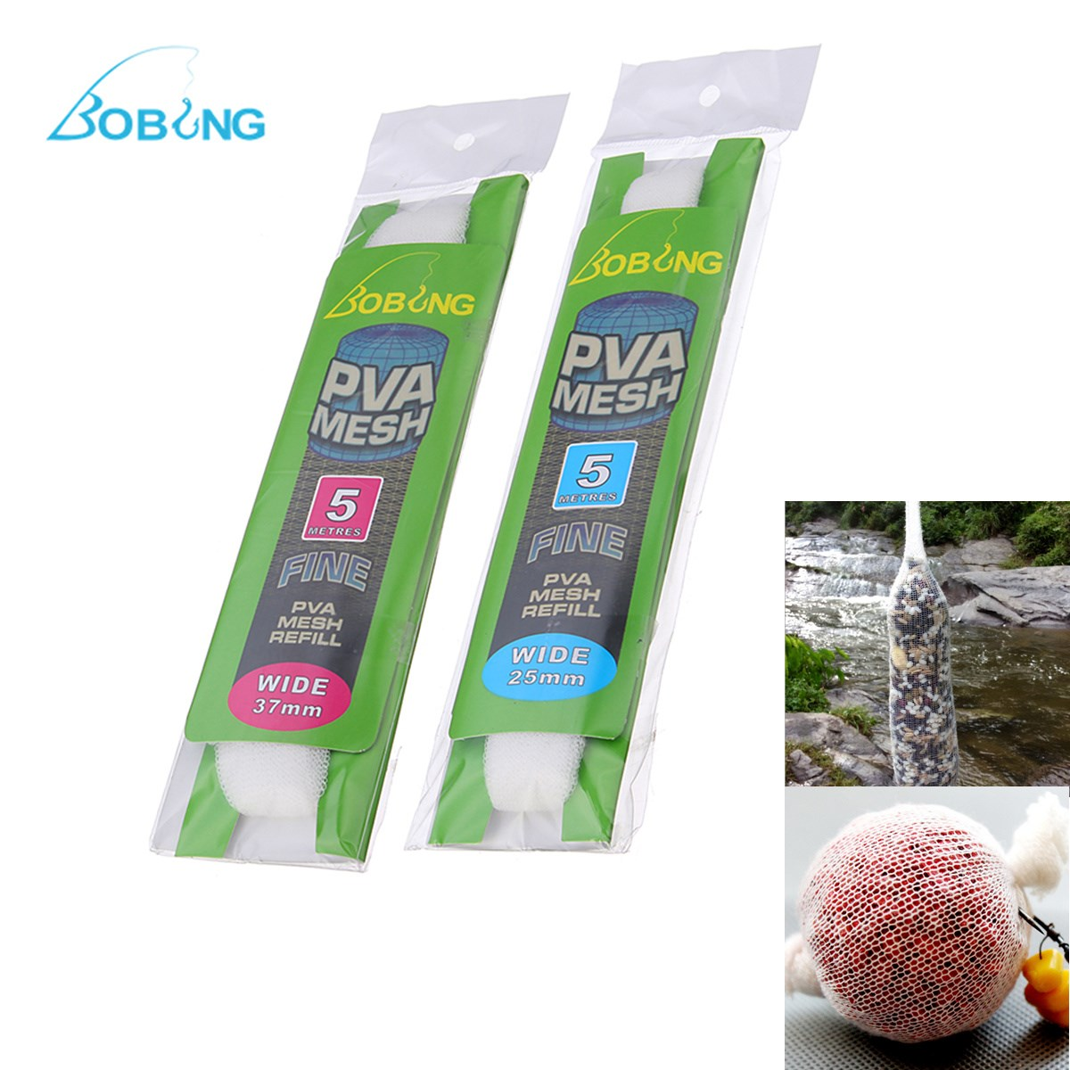Bobing 477cm PVA Fishing Mesh Feeder Live Bait Dissolving Refill Net Tube Stocking Plunger Bag 25MM 37MM Micromesh