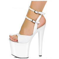 Sexy High Platform Lined Sandal 8 Inch Heel White Bride Wedding Dress Sexy Ultra High Thin