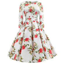2019 New Hot Selling Womens Retro Sleeves Summer Sexy Print Dress Vintage A-Line Solid Full Bow Regular Natural O-Neck