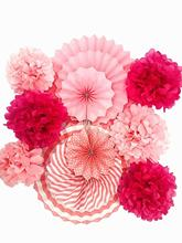 15Pcs/set Pink Hanging Paper Party Decorations Paper Fan Set Paper Pom Poms Flowers for Babyshower Girls Birthday Party Supplies nirvana nirvana unplugged in new york 180 gr