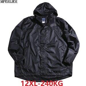 Image 1 - Chaquetas con capucha impermeable para hombre Otoño de talla grande 8XL 9XL 10XL 11XL 12XL chaqueta holgada de gran tamaño con cremallera