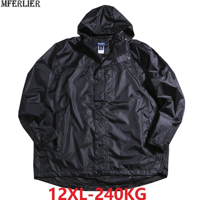 Gli uomini out door giacche con cappuccio impermeabile sottile autunno più il formato grande 8XL 9XL 10XL 11XL 12XL oversize allentato giacche chiusura lampo cappotto