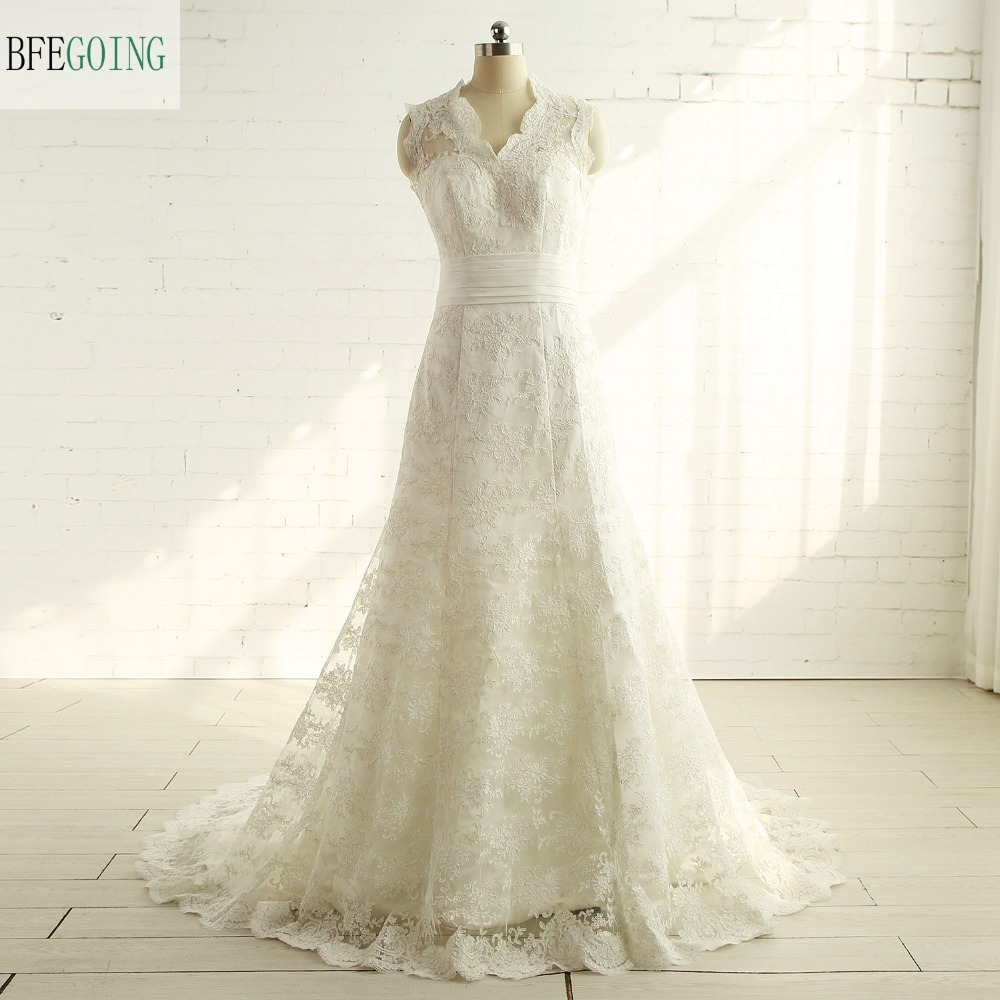 Wedding Gown With Neck Detail: Aliexpress.com : Buy Ivory Tulle Lace Floor Length A Line