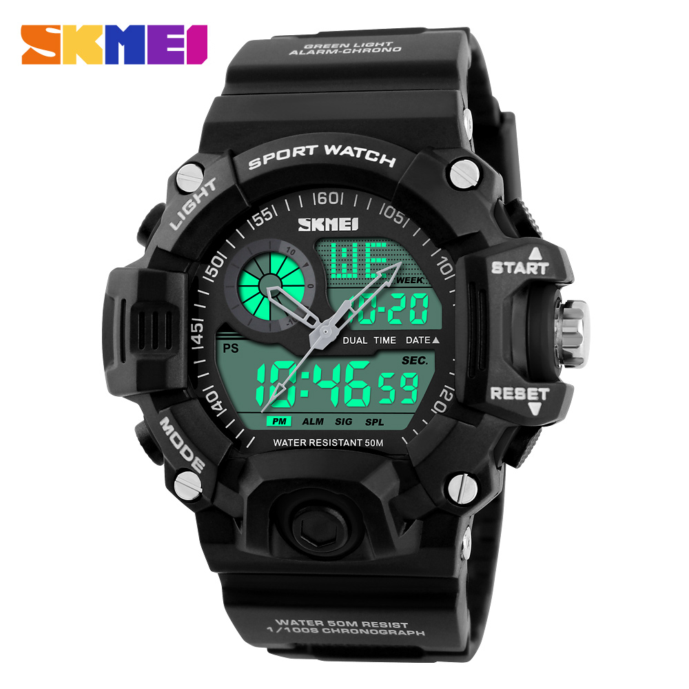 SKMEI Brand Outdoor Sport Watch Men 50m Waterproof Digital Quartz Dual Time Sports Military Watches Climbing Swim Clock Men skmei men quartz digital dual display sports watches new clock men outdoor military watch fashion student waterproof wristwatch