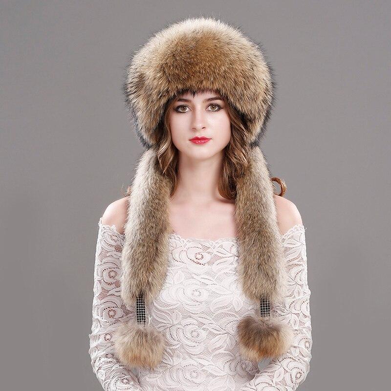 Real Fox Fur Hat Female Pompon Beanie Hat Natural Raccoon Fur Fur Hat Rex Rabbit Fur Top Beanie Women'S Hat Winter Hat Ladies