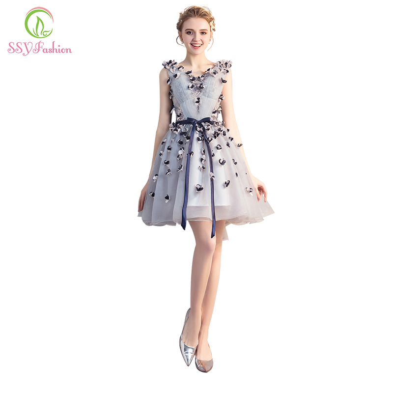 SSYFashion New Short   Cocktail     Dresses   Sweet Grey Lace Flower V-neck Mini Appliques Party Gown Custom Formal   Dress   Robe De Soiree