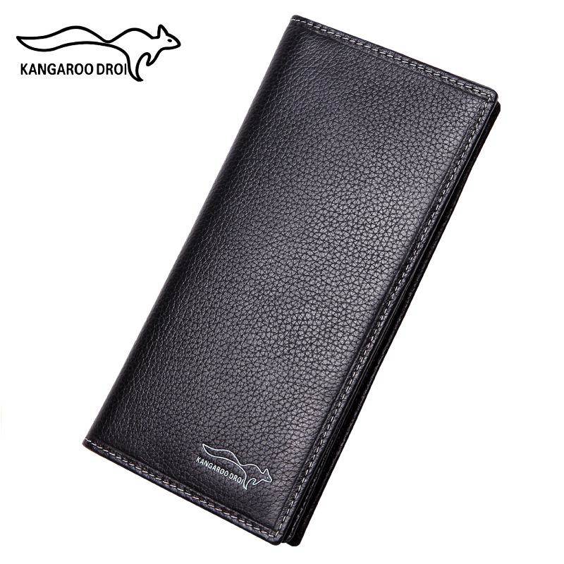 Vintage Genuine Leather Cowhide Men Wallet Long Clutch Purse Slim Money Clip Two Color Coin Credit Holder Passport Cover Cartera lucky ff718 licd