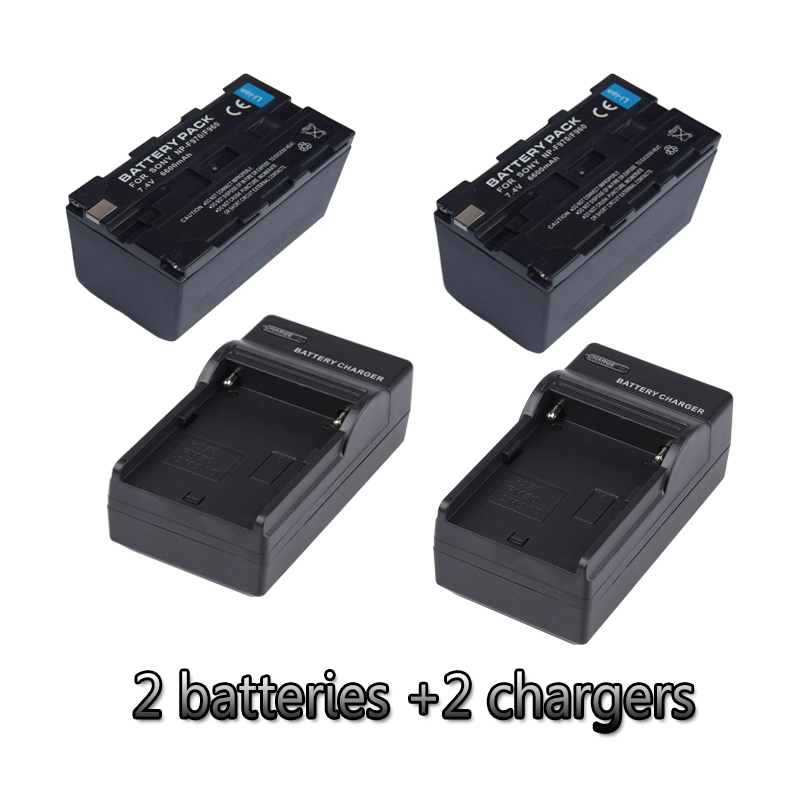 NP F970 NP F960 lithium batteries 2 chargers F970 camera battery For Ring Lamp FE480 FD480