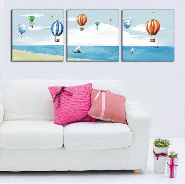 Tapiz hippie 3Panels blue sea Modern Wall Painting beach Hot air ...