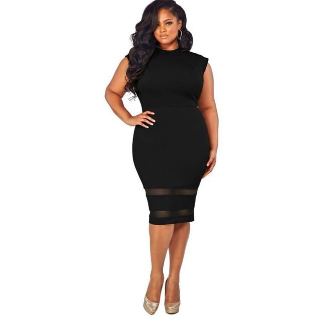 2f5bd7f25 Mulheres de vestido Sem Mangas Plus Size xxl xxxl 4xl Black Mesh Patchwork  Estiramento Bodycon Africano