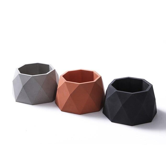 Octagon силиконовый конкретные формы украшения дома глины ремесел полигон бетонных кашпо цемента ваза формы