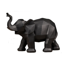 Geometric Lucky White Black Elephant Figurine Mascot Miniature Elephants Figurines Home Decoration Accessories Morden Decor