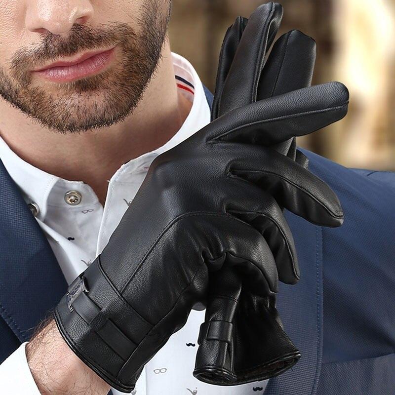Herren Handschuhe Schwarz Winter Fäustlinge Warm Halten Touchscreen Winddicht Fahren Guantes Männlichen Herbst Winter Leder Handschuhe Business