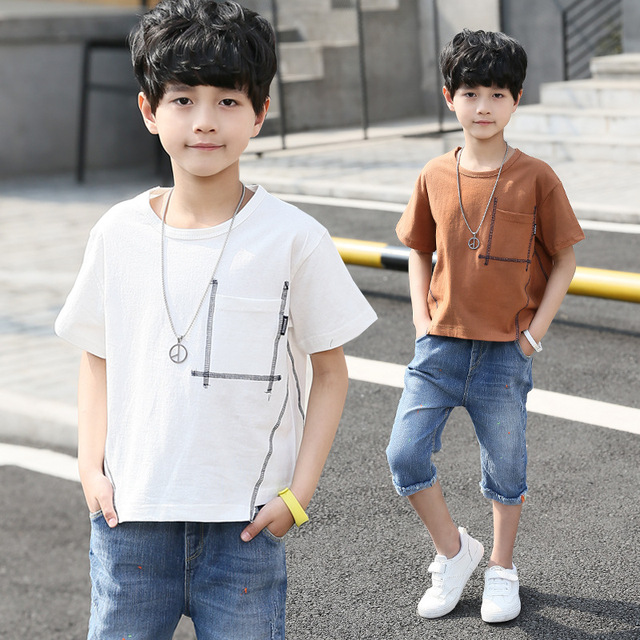 7eb842823fb79 Teen Boys Clothes Set Summer Pocket Casual Short T shirt Jeans Suit For Children  Clothing Set