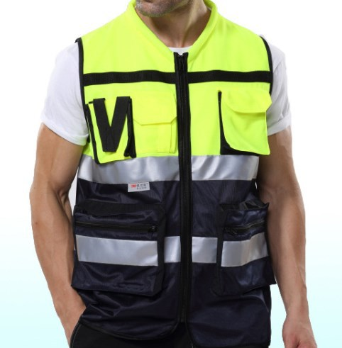 Reflective vest working clothes provides warning safety vest Security Traffic Construction Uniform safety vest with pocket 1pcs