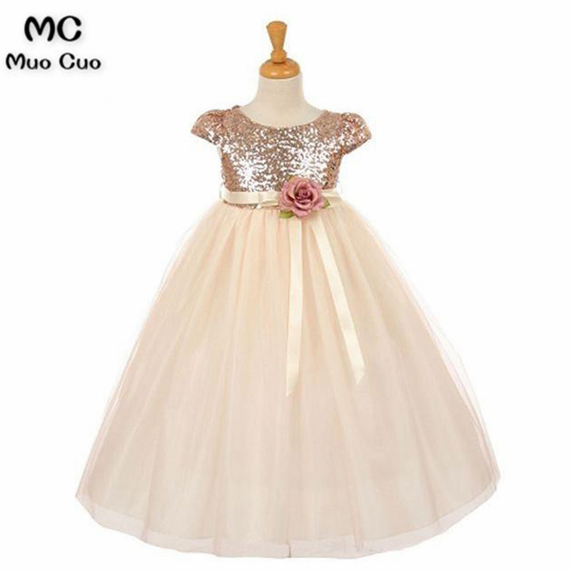 Shining 2018 A-Line Gown first communion   dresses   for   girls   with Sequined kids evening gowns   flower     girl     dresses   for weddings