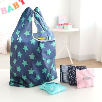 6 style New Fashion printing foldable green shopping bag Tote Folding pouch handbags Convenient Large-capacity storage bags