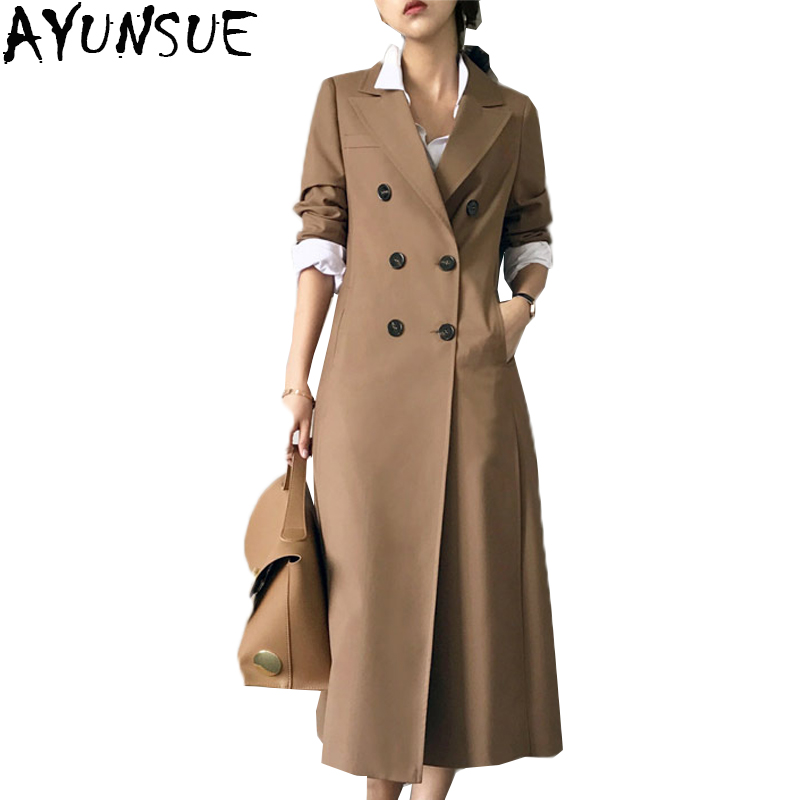 AYUNSUE New Fashion 2019 spring loose coat Women Long Double Breasted Casual Female Autumn European Windbreaker