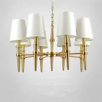 Золотая роскошь гостиная люстры с светлый оттенок чистой меди художественная галерея освещение E14 деревенский столовая люстра led лампада