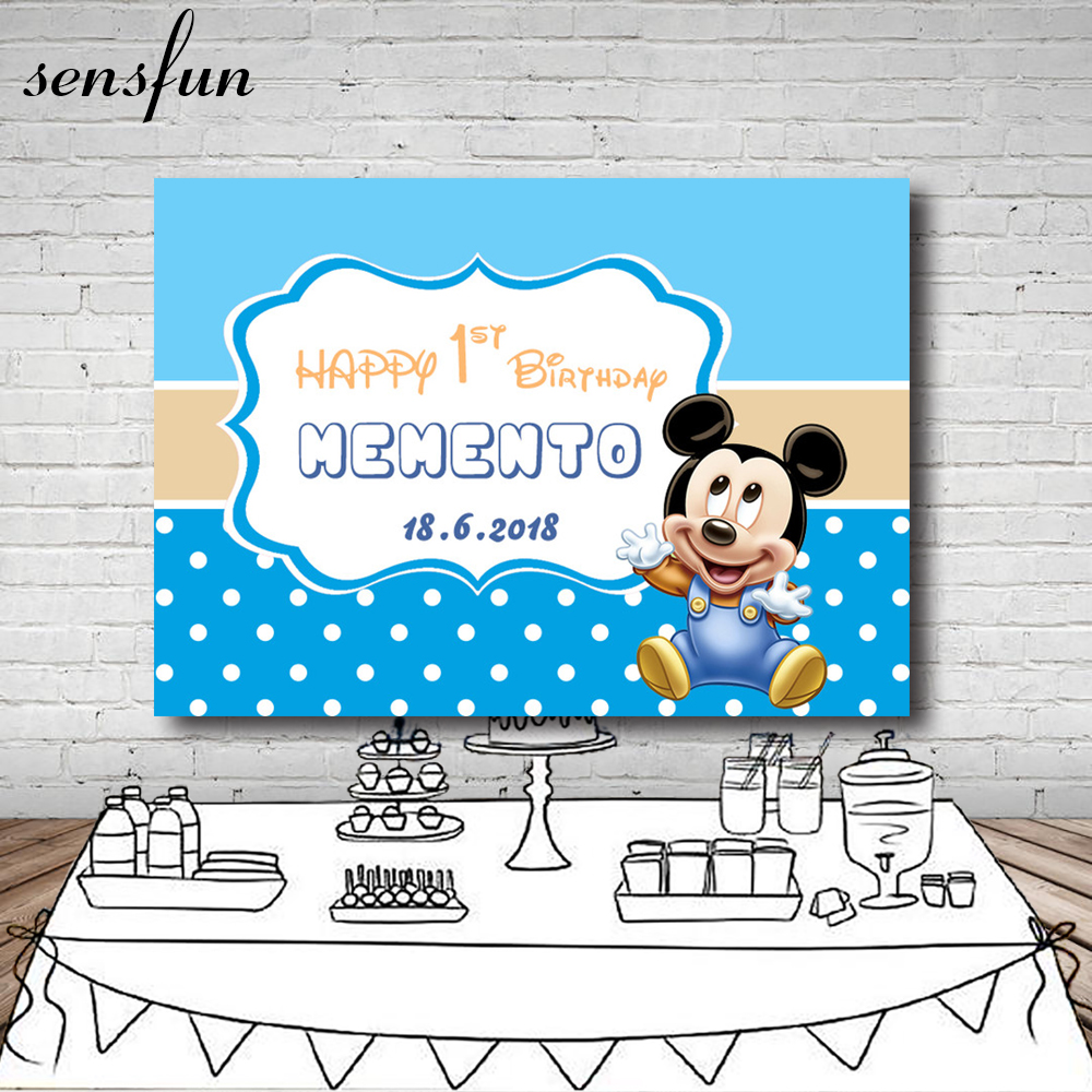 Blue Theme Mickey Birthday Party Backdrop White Wave Point Newborn Boys Baby Shower Background For Photo Studio Custom Name Date
