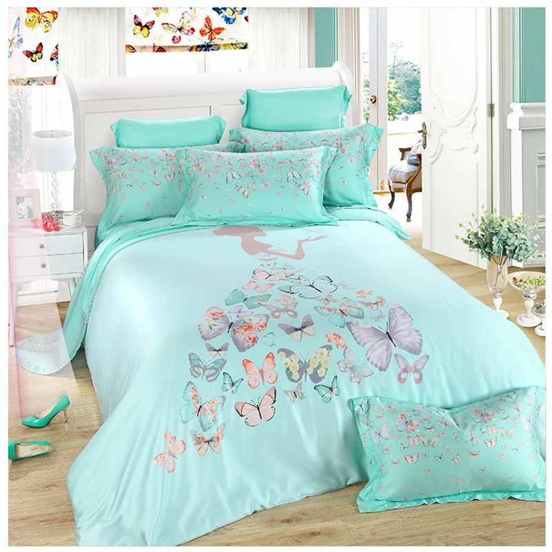 green tencel princess bedding set king queen size 4pcs solid color bedclothes butterfly duvet. Black Bedroom Furniture Sets. Home Design Ideas
