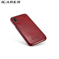 ICarer For IPhone X 10 Case Luxury Brand Retro Genuine Leather Hard PC Armor Shockproof Protective