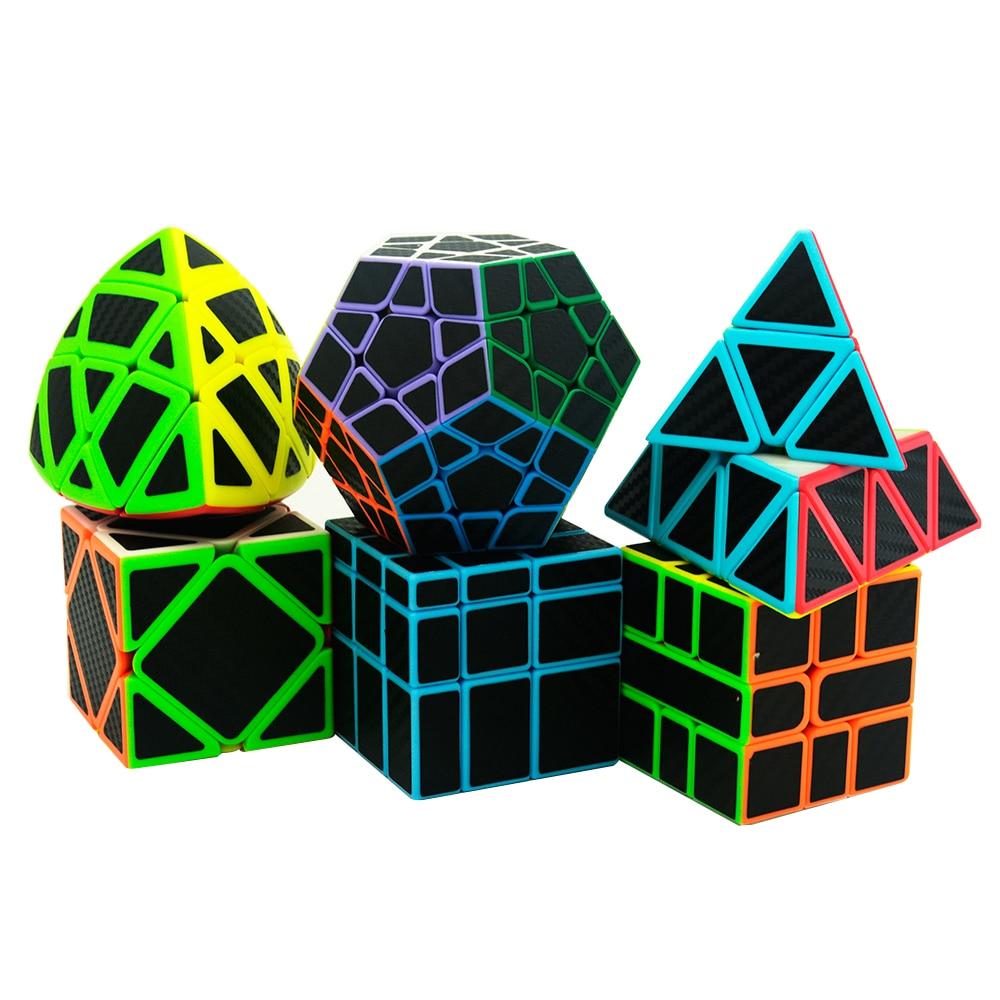 6 pcs/ensemble Lefun Magique Cube Mastermorphix + SQ-1 + Megamin + Miroir Bloc + Pyramin + Biais Noir autocollant Rubiks Cube