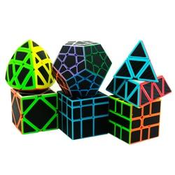 6 pz/set Lefun Cubo Magico Mastermorphix + SQ-1 + Megamin + Blocco Dello Specchio + Pyramin + Skew Nero sticker Rubik Cube