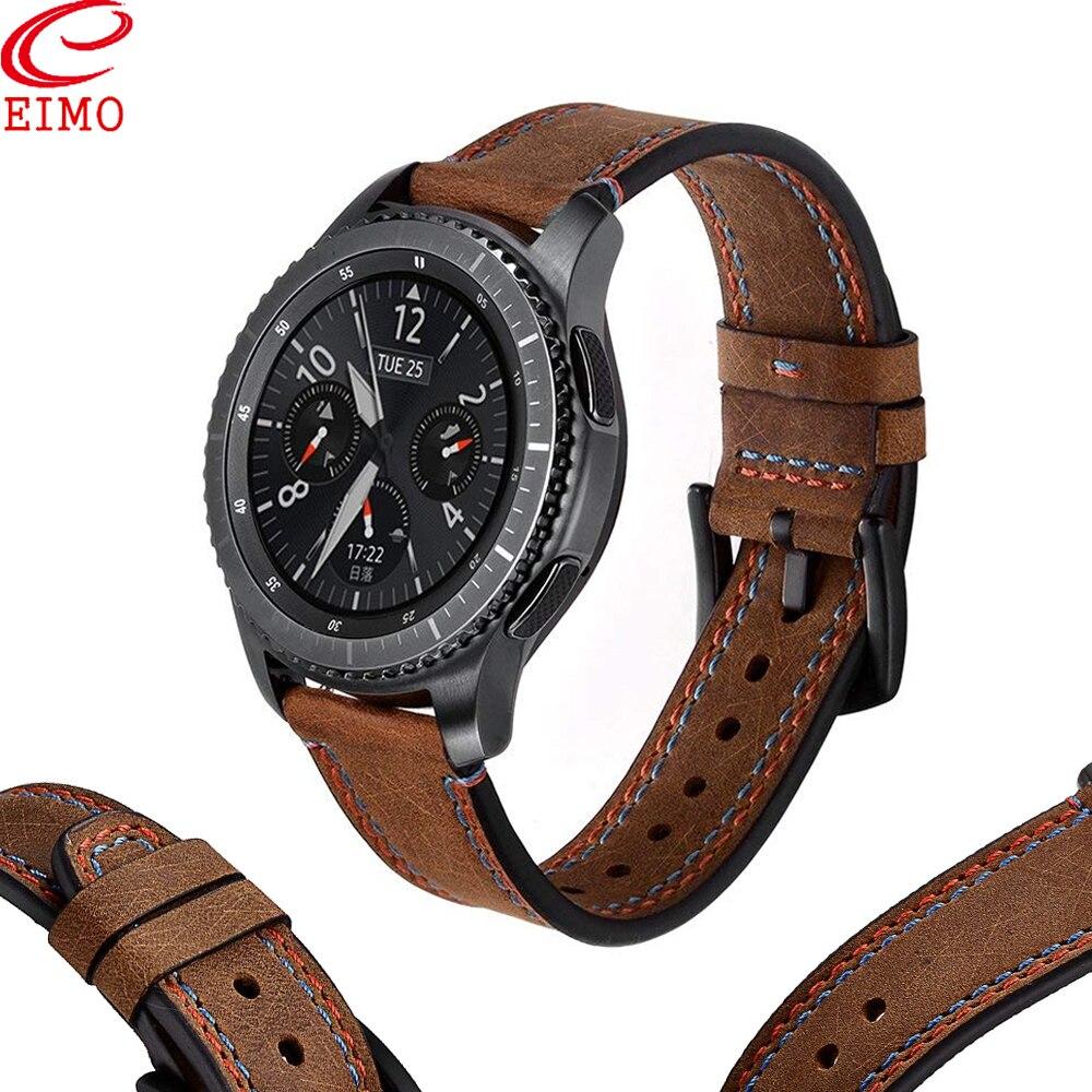 Galaxy Watch 46mm Strap For Samsung Gear S3 Frontier amazfit bip Strap Genuine Leather 22MM watch band Bracelet watchband S 3 46|Watchbands| |  - title=