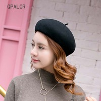 QPALCR High Quality Pure Wool Beret Lovely Girls Solid Wool Felt Hat British Style Lady Fedora Painter Pumpkin Hats