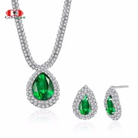 Wedding Jewelry,Top Quality Silver Color Green Crystal AAA Zircon Water Drop Bridal Necklace and Earrings Jewelry sets