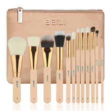 BEILI 12pcs Essential Travel kit Pink Foundation Powder Eye shadow Makeup Brushes set