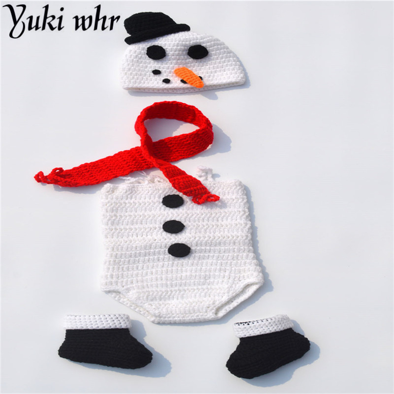 ae90dc56ecc6b US $11.65 19% OFF|Crochet Snowman Hat&Romper Set Knitted Newborn Snowman  Costume Infant Baby Halloween Costume Knitted Photo Props-in Hats & Caps  from ...