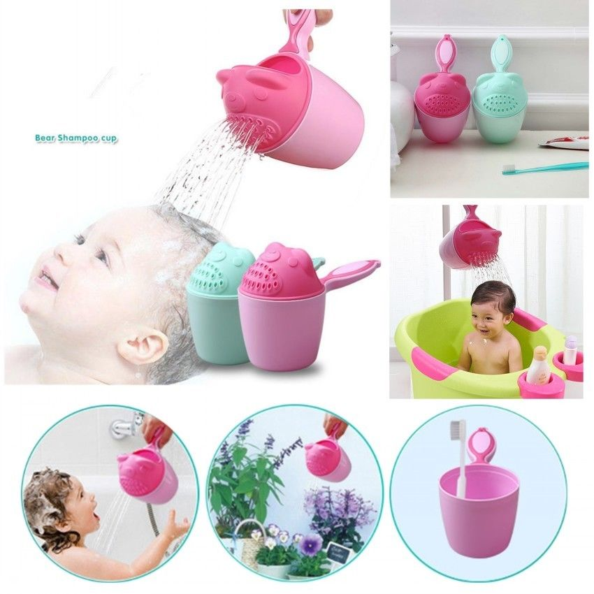 Summer Cartoon Baby Spoon Shower Bath Water Swimming Bailer Shampoo Cup Children Washing Hair Cup Kids Bath Tool