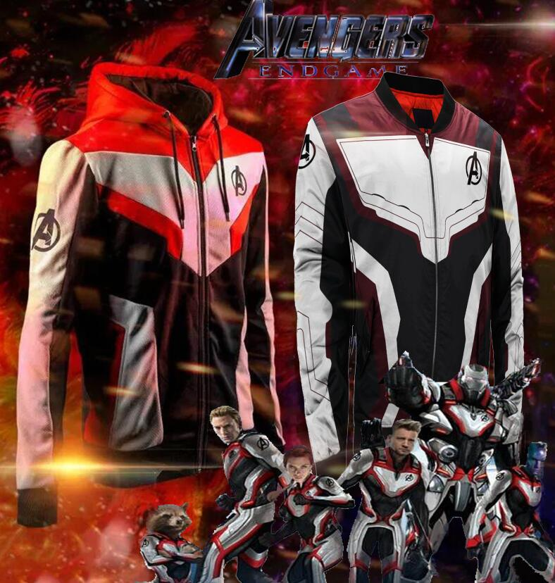 Avengers Endgame Quantum Realm Cosplay Costume Jacket Hoodie T shirt Superhero Captain America Hulk Marvel Jacket Sweatshirt
