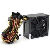 Professional 1600W Mining ATX Power Supply SATA IDE For 6 GPU ETH BTC Ethereum New US