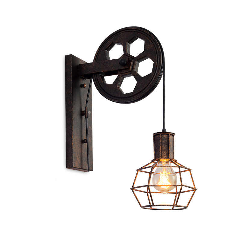 Loft Retro Lanterns Fixtures Pulley Wall Lamp Pendant Suspension Light Fitting Kitchen Bedroom Living Room Wall Lamp Bra Sconce