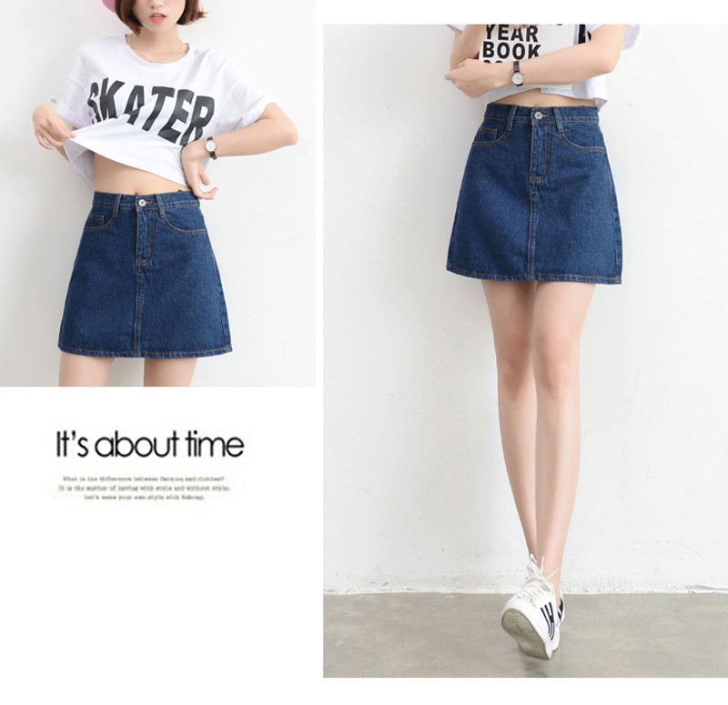 Lucyever Fashion Korean Summer Women Denim Skirt High Waist Black Mini Skirts Package Hip Blue Jeans Harajuku Plus Size Cotton 18