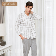 New arrive men pajamas cotton grid buckle sleepwear man Elasticity large size Can wear outside male pyjama lovers nightclothes