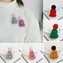 Cute Hairy Woolen Hat Wool Cap Pins for Sweater Brooch Button Pins Denim Jacket Badge for